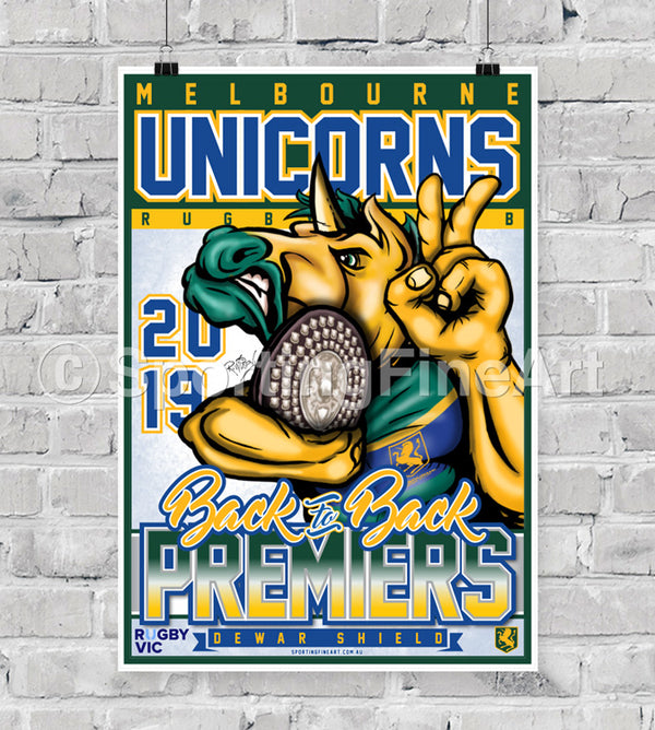 Melbourne Unicorns Rugby Union FC 2019 Premiership Poster