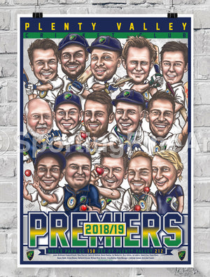 Plenty Valley CC 2018/19 Caricature Premiership Poster