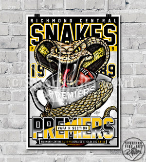 Richmond Central Snakes FC 1989 Premiership Poster