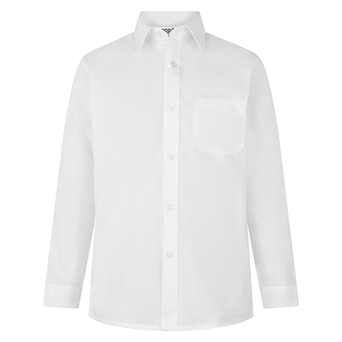 Boys long sleeve white shirt. Non Iron. Twin pack
