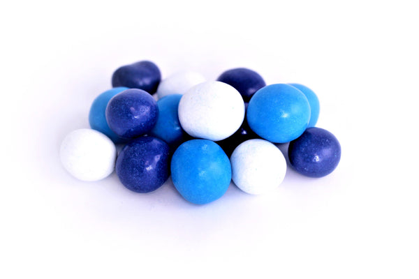 Navy, Mid-Blue & White Candy Coated Dark Chocolate Malted Milk Balls *200 Lb. Minimum Order*