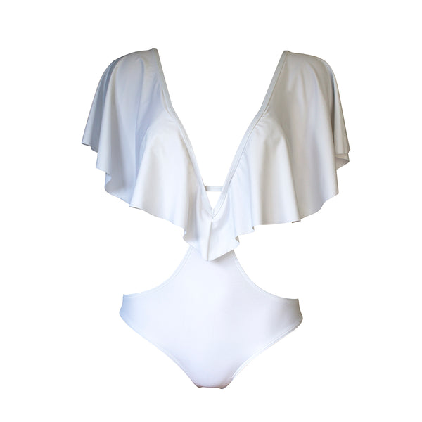 Skychaser Caped Monokini - White