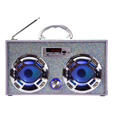Wireless Express Silver Bling Boom Box