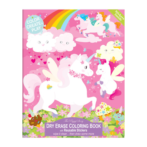 Dry Erase Coloring Book-Unicorn Fantasy