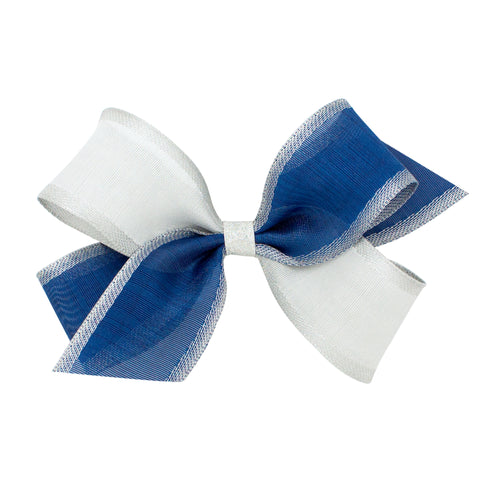 Wee Ones Sheer Two-Toned Blue and Silver Bow