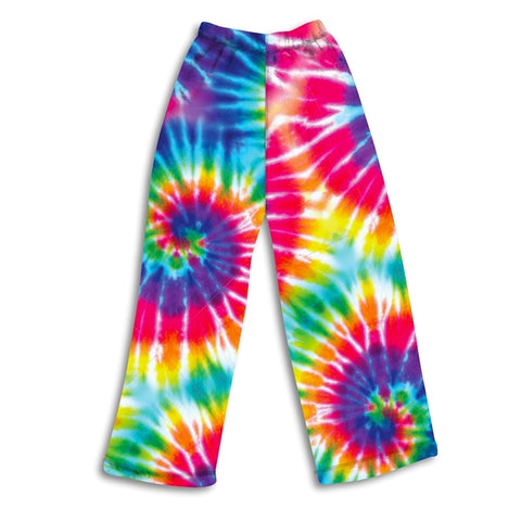Top Trenz Primary Rainbow Tie Dye Fuzzy Lounge Pants