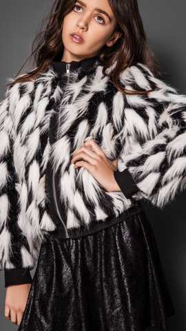 Mia New York Black And White Party Faux Fur Jacket