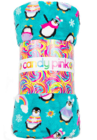 Candy Pink Penguin Blanket