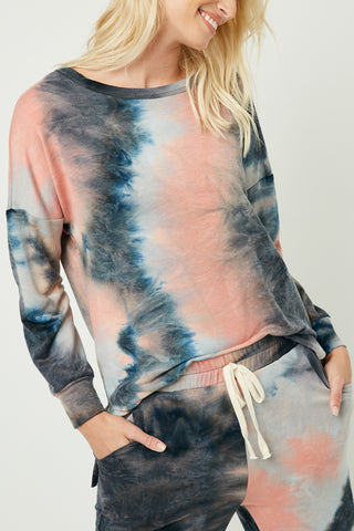 Hayden Los Angeles Women's Charcoal Mix Tie Dye Drop Shoulder Sweatshirt