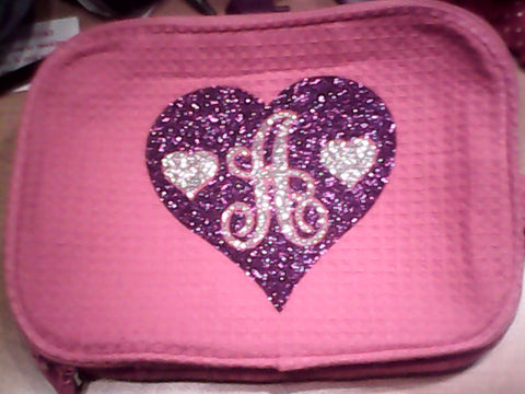 Pink Initial Glitter Cosmetic Case