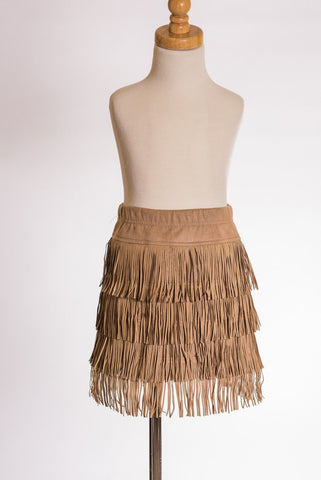 ML Kids Faux Suede Fringe  Skirt