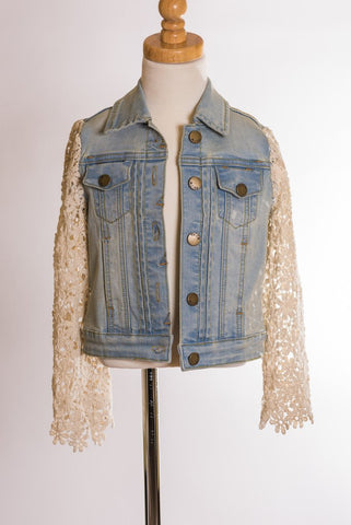 ML Lace Sleeve Denim Jacket