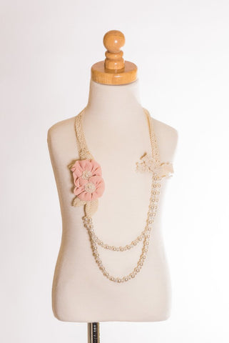 Double Rosette Crochet Necklace