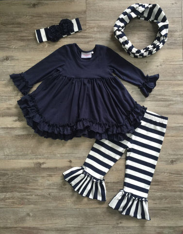 Serendipity Navy Ruffle Top With Belle Pant