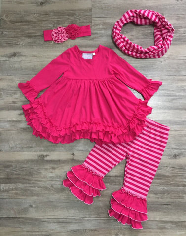 Serendipity Fuchsia Ruffle Top With Leggings