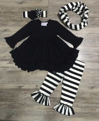 Serendipity Black Ruffle Top With Belle Pant