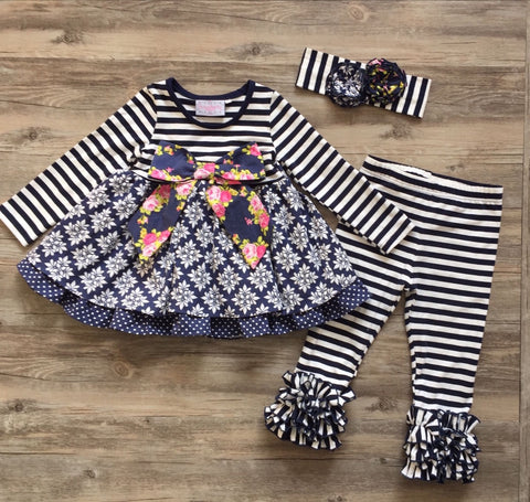 Serendipity Midnight Blossom Bow Dress And Leggings