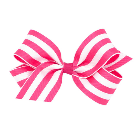 Wee Ones Medium Pink Striped Bow