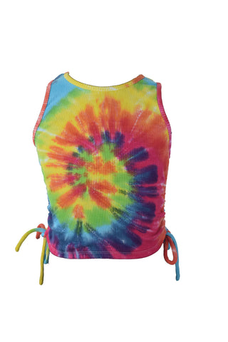 Flowers By Zoe Bright Tie Dye Side-Ruched Tank