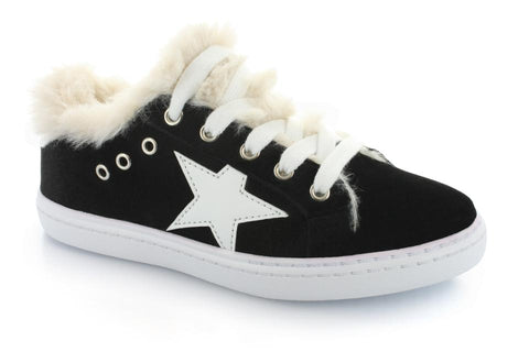 Fur Star Lace Sneaker Black Velvet