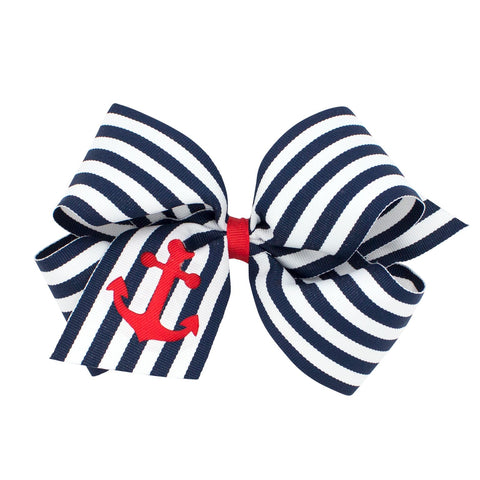 Wee Ones King Size Nautical Anchor Striped Bow