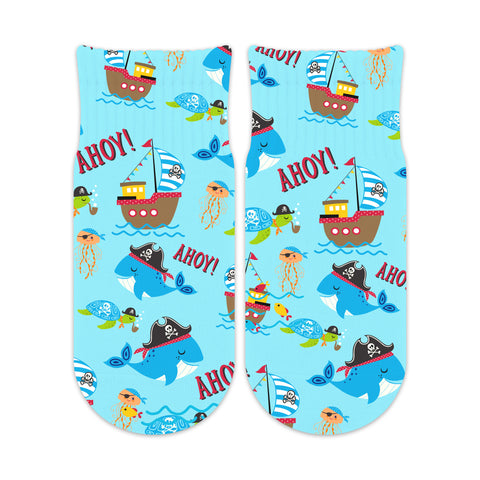 Pirate Socks - Kid Sizes 6-11