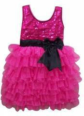 Popatu Hot Pink Sequin Dress with Black Bow Petti Dress