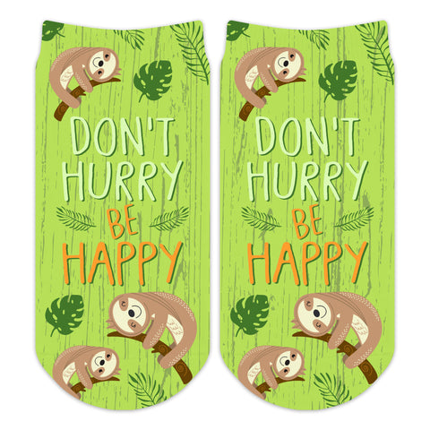 Sublime Designs No Show Socks - Don't Hurry Be Happy Sloth