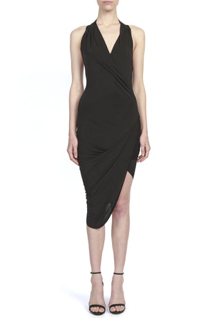 DEEP V TIE NECK DRESS