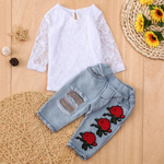 Lace top & jeans set