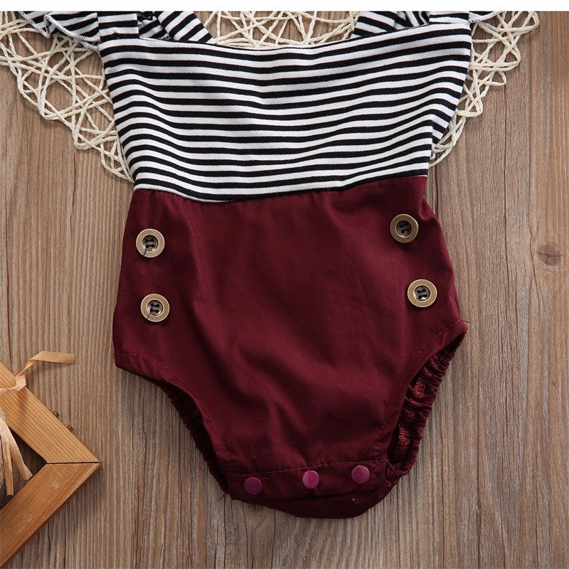 Maroon pinstripe romper and headband (3-18 months)