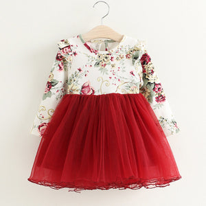 Red floral long sleeve dress ( 24 months - 6 years)