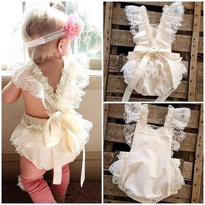Floral lace ruffle romper (3-6 months)
