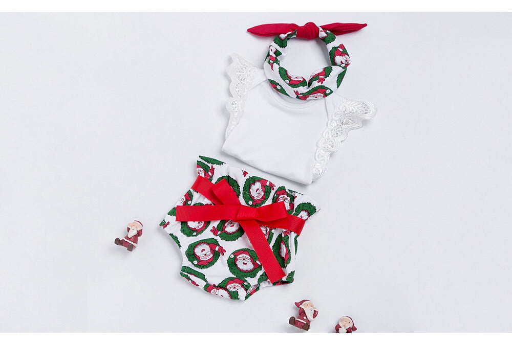 Santa bodysuit, bloomers and headband set (3-24 months)