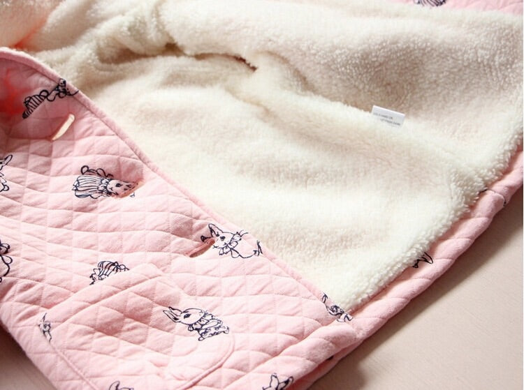 Rabbit print pink coat (9-24 months)