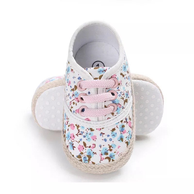 Blue floral shoes (0-18 months)