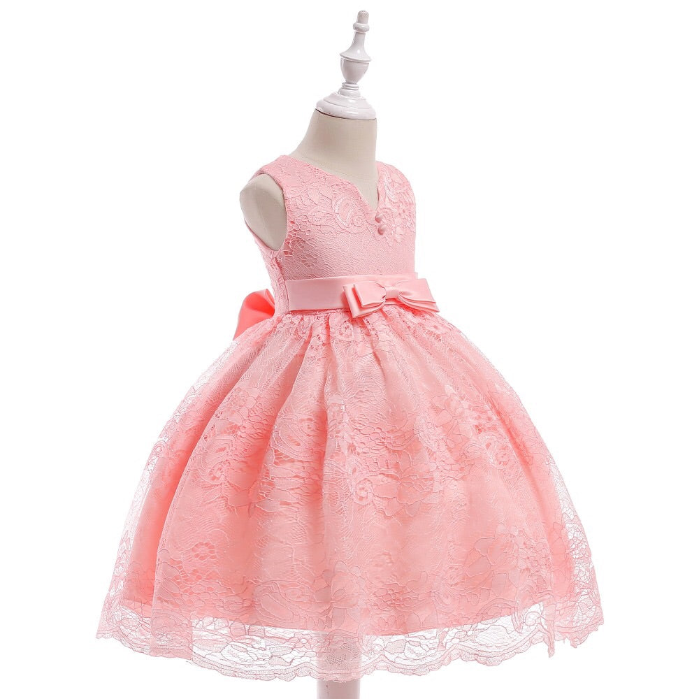 Pink lace v neck dress (3-7 years)