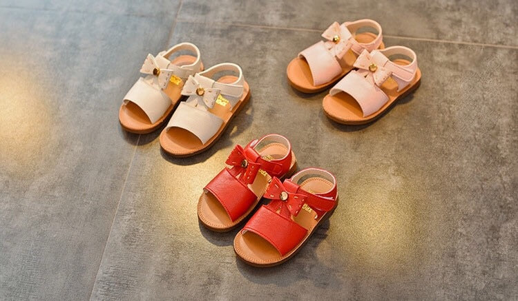 Leather bow sandals ( us 5.5 - 9.5 / eu 21-25)