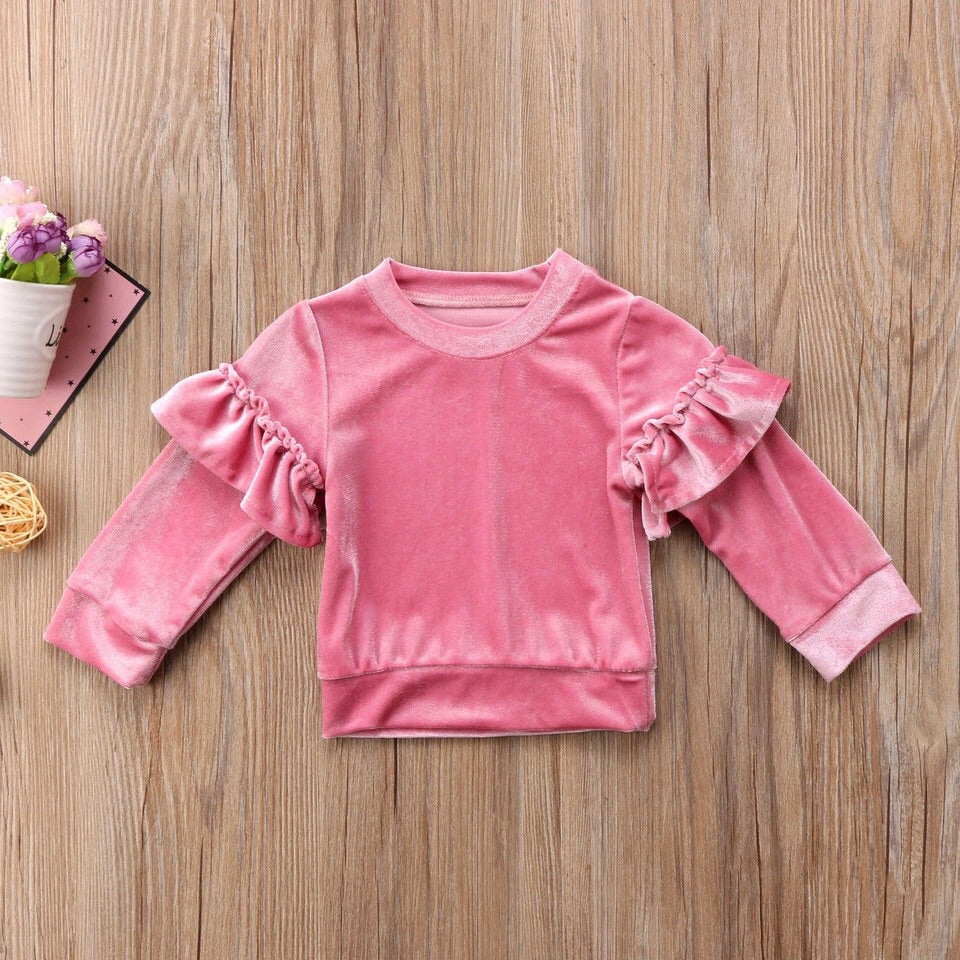 Velvet ruffle jumper in hot pink or light pink