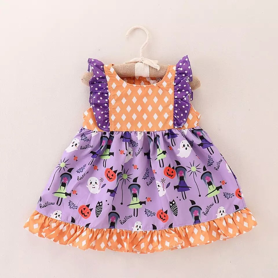 Purple and orange polka dot Halloween dress (6 months - 4 years )