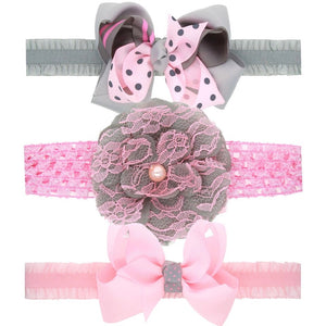 3 piece headband gift set in grey or pink