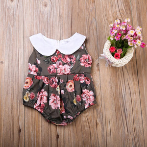 Brown floral Peter Pan romper  (12 months- 4 years)