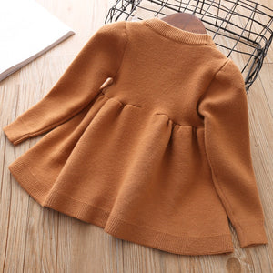 Brown knitted long sleeve dress ( 12 months- 5 years )