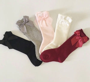 Knee high socks with bows - 5 colours available (0-4 years)