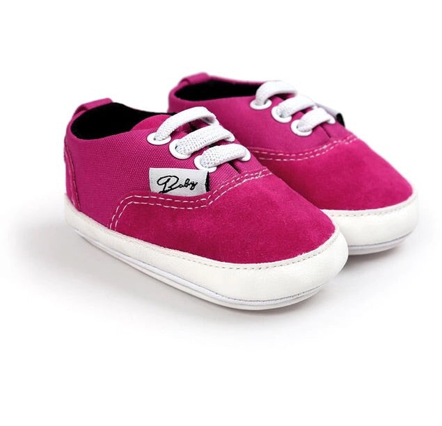 Hot pink/red lace detail slip on baby shoes (0-18 months)