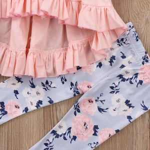 Floral print leggings with ruffle pink top (3-18 months)