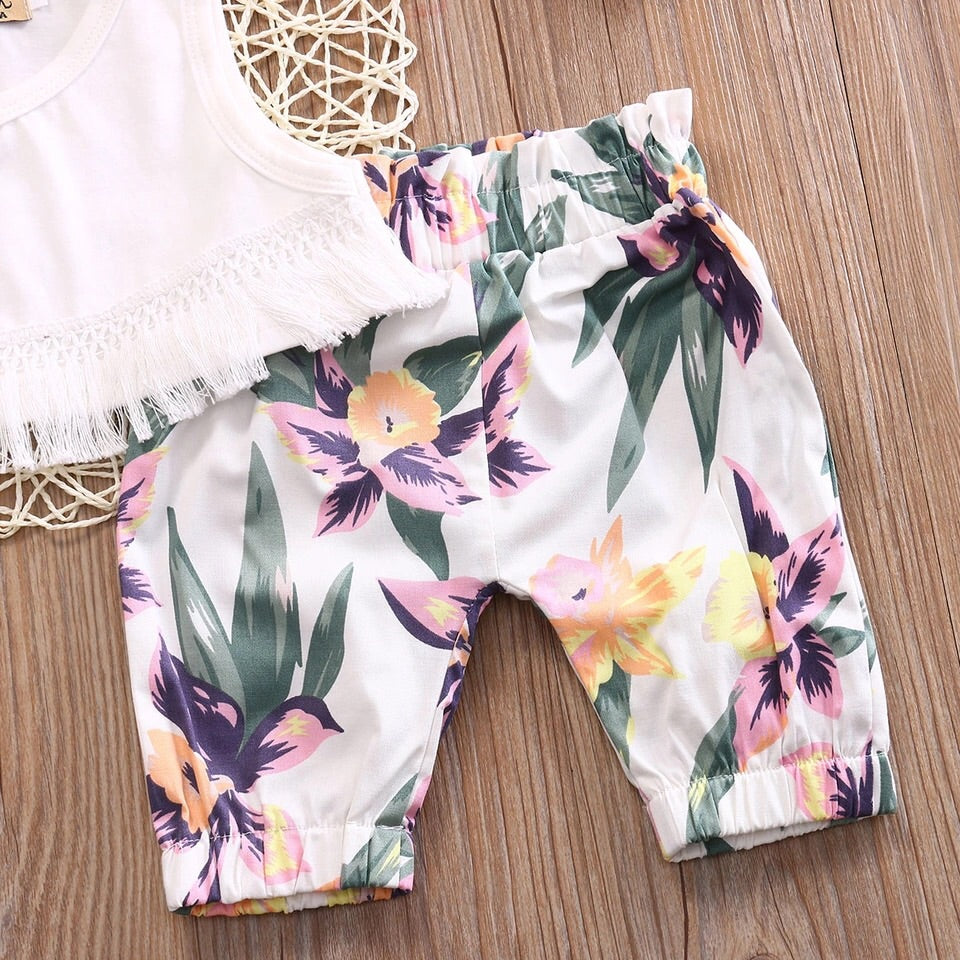 Floral crop and shorts set (3-24 months)