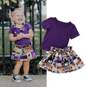 Purple Halloween top and skirt (6 months - 4 years)