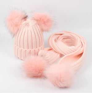 Pink faux fur pom pom hat and scarf (1-6 years)