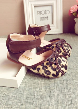 Leather leopard print sandals ( US 2.5-11 / EU 18-28)